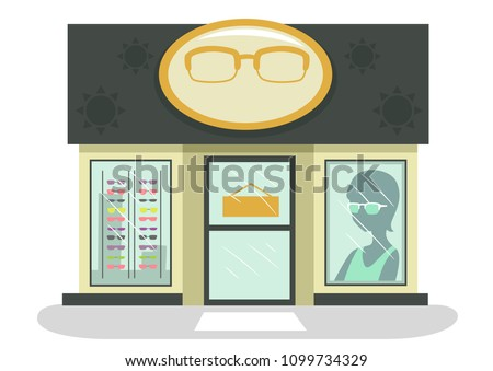 Illustration of an Optical Shop with Eyeglasses and Sunglasses on Display