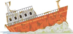 Illustration of an Rusting Abandoned Cargo Ship by the Shore