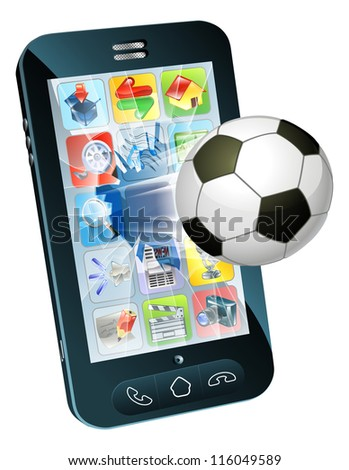 Illustration of an soccer ball flying out of cell phone screen