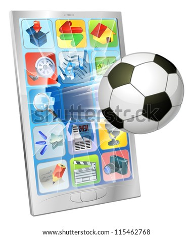 Illustration of an soccer football ball flying out of mobile phone screen