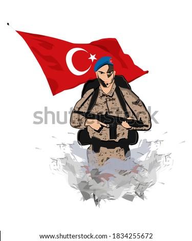 Illustration of an Turkish soldier and Turkish flag. Komando. Şanlı kahraman Türk askeri ve bayrağı Stok fotoğraf ©
