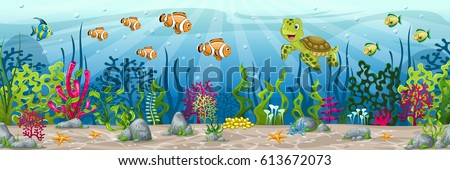 Illustration of an underwater landscape with animals and plants #613672073