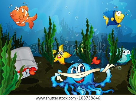 Illustration of an underwater scene
