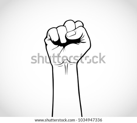 illustration of an upward fist, vector