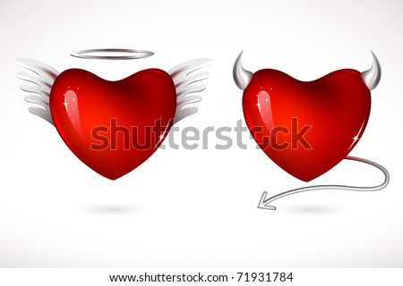 illustration of angel and devil hearts on isolated background