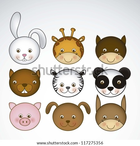 Illustration of animal icons illustration of giraffe, rabbit, squirrel, horse, mule, panda, tiger, pig, dog. vector illustration