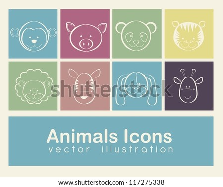 Illustration of animal icons illustration of giraffe, zebra, monkey,  panda, tiger, pig, dog, lion. vector illustration - stock vector