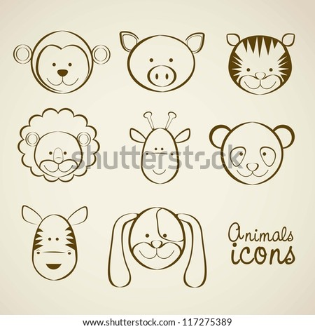 Illustration of animal icons illustration of giraffe, zebra, monkey,  panda, tiger, pig, dog, lion. vector illustration