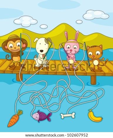 Illustration of animals fishing on pier - stock vector