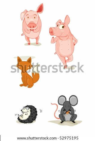 Illustration of animals on a white background