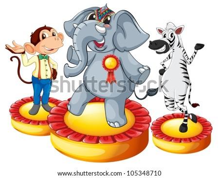 Illustration of animals on podiums