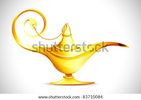 illustration of antique golden ginie lamp on abstract background