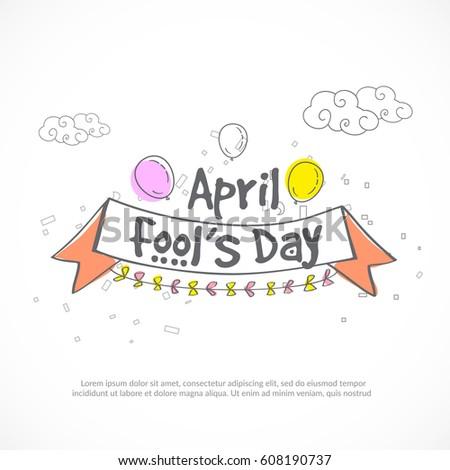 Illustration Of April Fools Day Lettering Design Background.