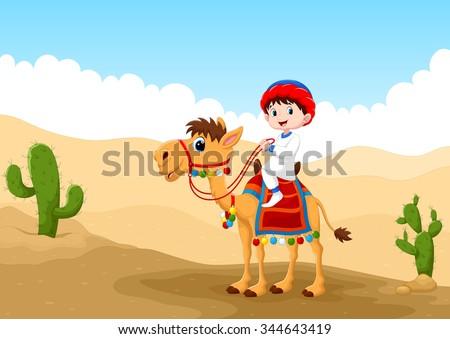 illustration of arab boy riding