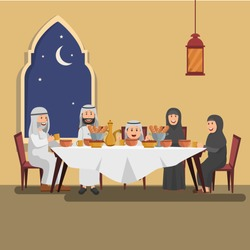 Illustration of Arabian Family Enjoying Iftar, Evening Meal in Ramadhan, Blessing Ramadhan Kareem
