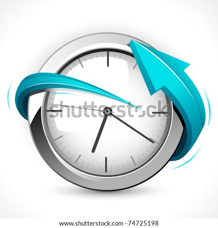 illustration of arrow around clock on abstract background