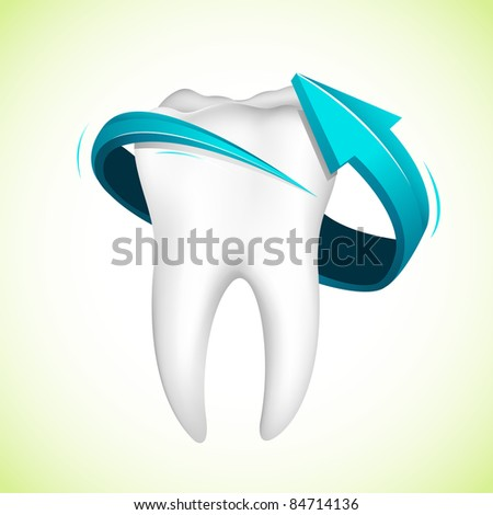 illustration of arrow around tooth on abstract background