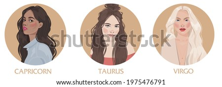 Illustration of  astrological sign element earth  as a beautiful girls. Zodiac vector illustration isolated on white. Future telling, horoscope, alchemy, spirituality, occultism, fashion woman.