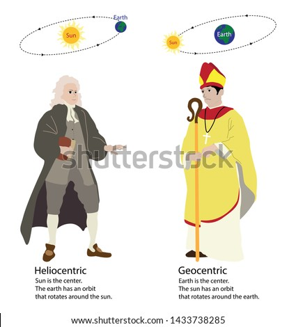 illustration of astronomy, Heliocentric and Geocentric, Sun is the center, Earth has an orbit that rotates around the sun,  Church and science