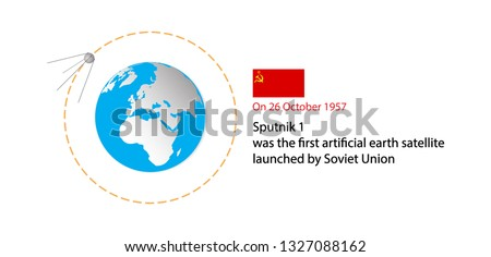 illustration of astronomy, Sputnik 1 is the first artificial world satellite by the Soviet Union