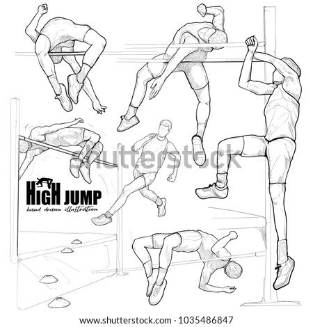 Illustration of Athlete in action of high jump set.