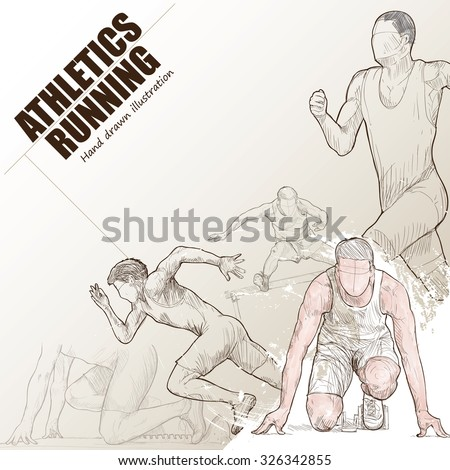 Illustration of athlete running. hand drawn. athlete running poster. Sport background.