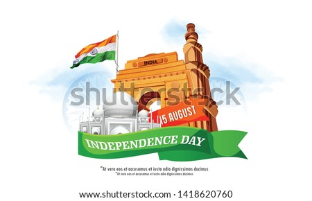 illustration of 15 august Happy Independence Day of India Indian monument and Landmark with background , poster, card, banner