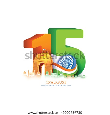 illustration of 15 August with Indian monument and Landmark for Happy Independence Day of India