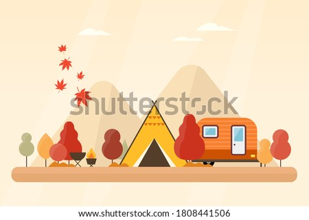 illustration of autumn forest and camping trip.