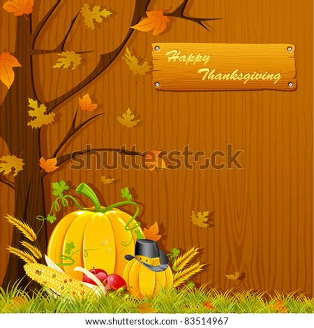 illustration of autumn tree with pumpkin for thanksgiving