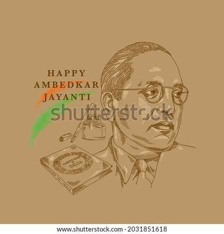 Illustration of B. R. Ambedkar with Indian constitution, ink bottle and pen in the background. Stock fotó ©