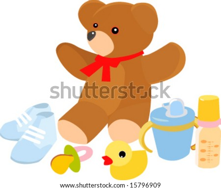 Illustration of baby accessories and toys Photo stock ©