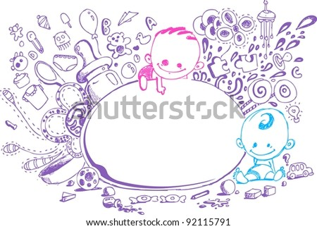 illustration of baby arrival card in doodle style