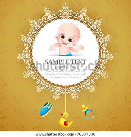 illustration of baby arrival card with photo of baby