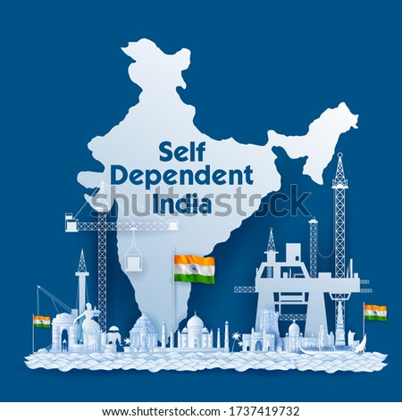 illustration of background promoting and supporting Vocal for Local campaign of India to make it self reliant and self dependent Сток-фото ©