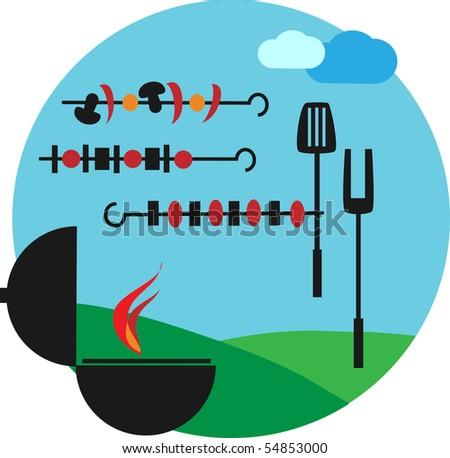 Illustration of backyard barbecue scene