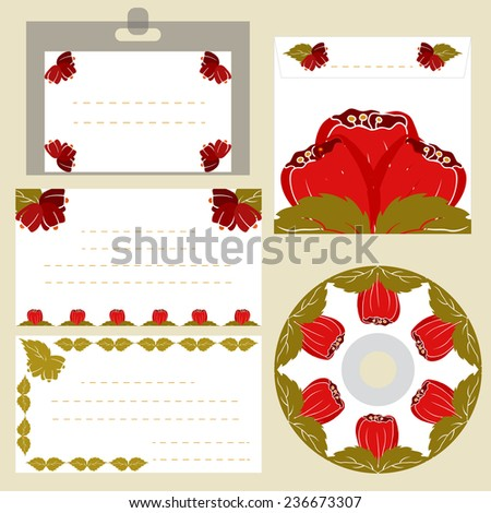 Illustration of badge, CD, envelope and visiting cards with flower decor. Corporate style template. EPS10