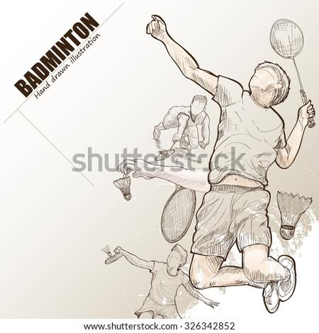 Illustration of badminton. hand drawn. badminton poster. Sport background.