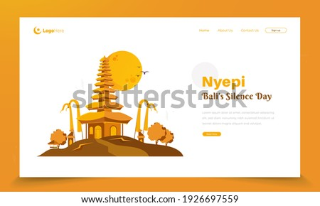 Illustration of Balinese Hindu temple on landing page concept for Nyepi or Bali's silence day greetings