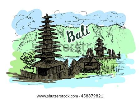 illustration of balinese temple