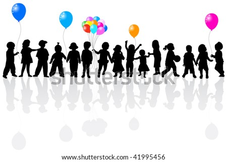 Illustration of balloons and kids