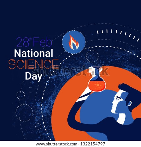 illustration of banner,header, poster for National Science Day is celebrated to commemorate discovery of the 'Raman Effect', Science Day. Scientific laboratory in flat line style