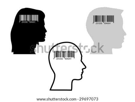 Illustration of bar-code and heads,  concept of consumerism