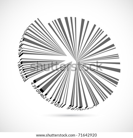 illustration of bar code pie chart on abstract background