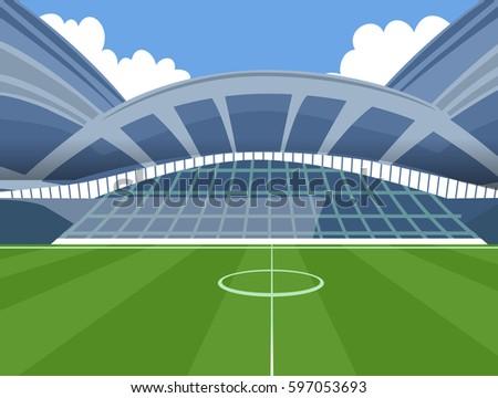 Illustration of Baseball Field Stadium