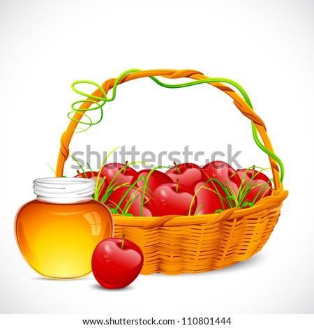 illustration of basket full of apple with honey jar - stock vector