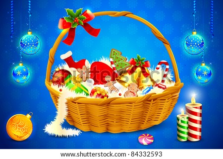 illustration of basket full of christmas cookie and candies