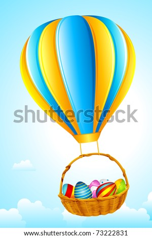 illustration of basket full of colorful decorated easter eggs hanging from hot air balloon