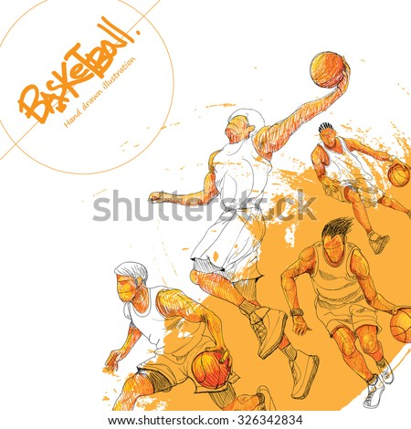Illustration of basketball. hand drawn. basketball poster. Sport background.