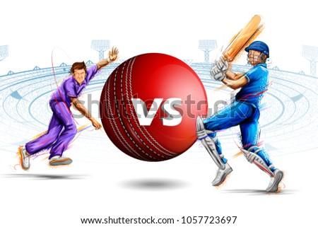 illustration of batsman and bowler playing cricket championship sports Stockfoto ©